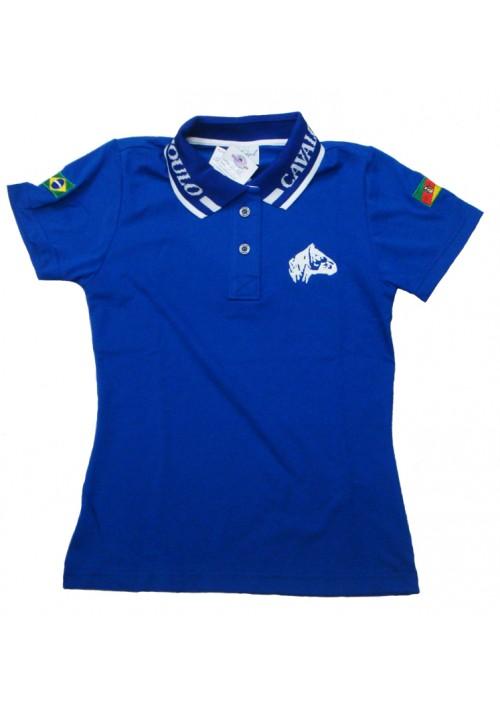 Polo Tajol Feminina Cavalo Crioulo Azul Royal