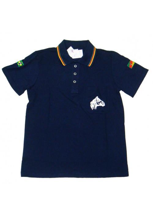 Polo Tajol Masculina Cavalo Crioulo RGS Azul Marinho