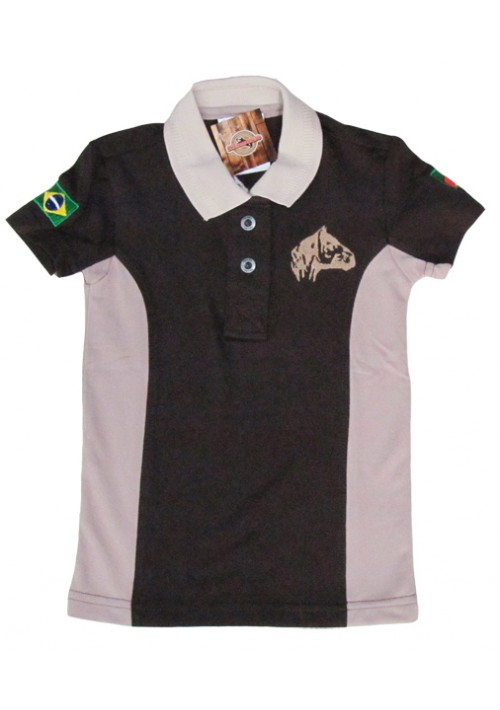 Polo Infantil Cavalo Crioulo Marrom/Bege
