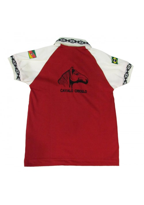Polo Infantil Cavalo Crioulo Pampa Vermelho/Bege