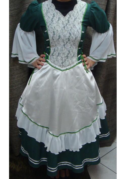 Vestido de Prenda Verde com Branco
