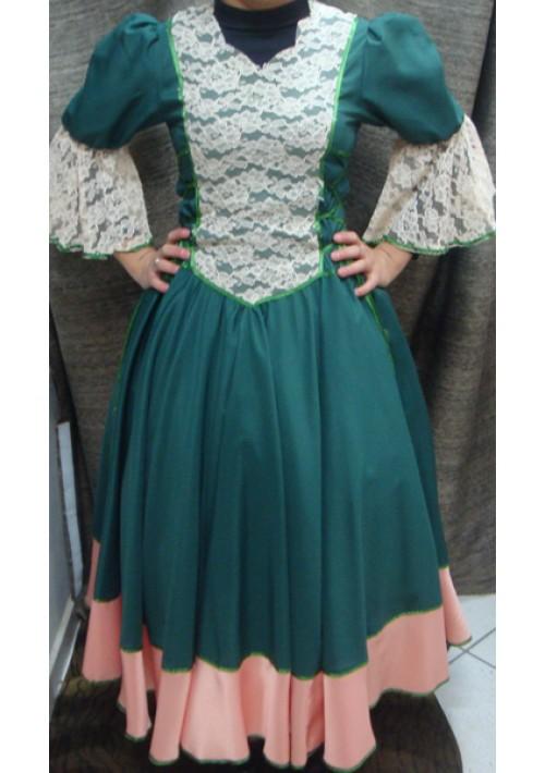Vestido de Prenda Verde com Salmão