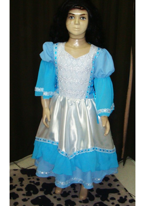 Vestido de Prenda infantil Azul claro com branco