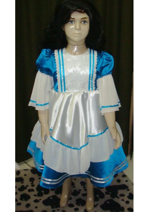 Vestido de prenda Infantil Azul escuro com Branco