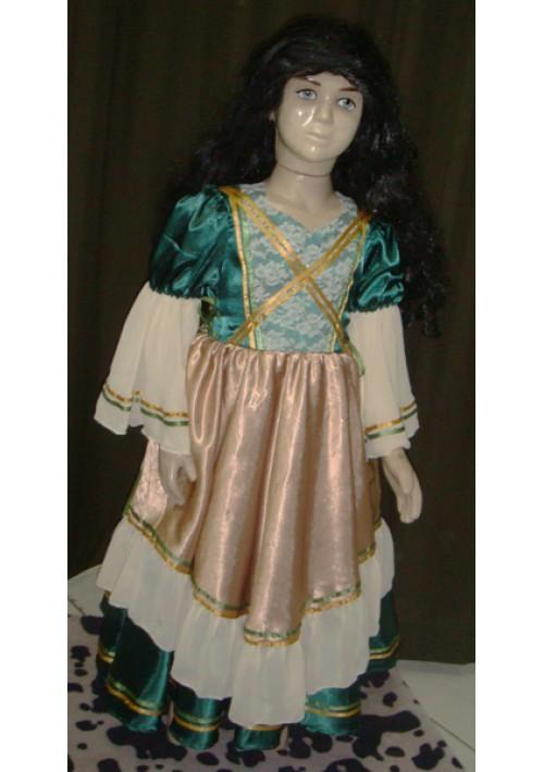 Vestido de Prenda Infantil Verde com Bege