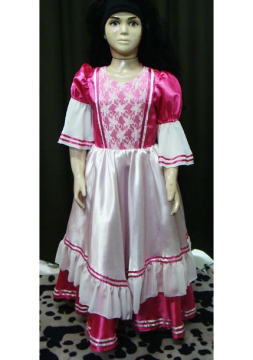 Vestido de prenda Infantil Pink com branco