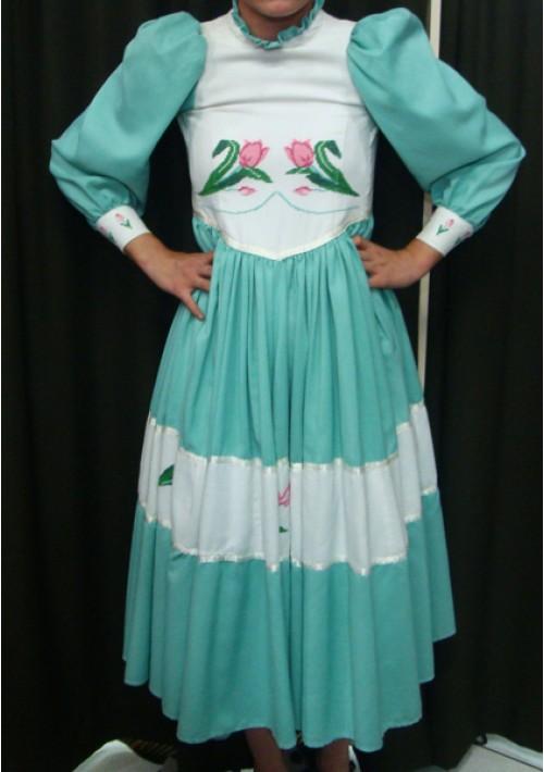 Vestido de Prenda Infantil Verde Bordado