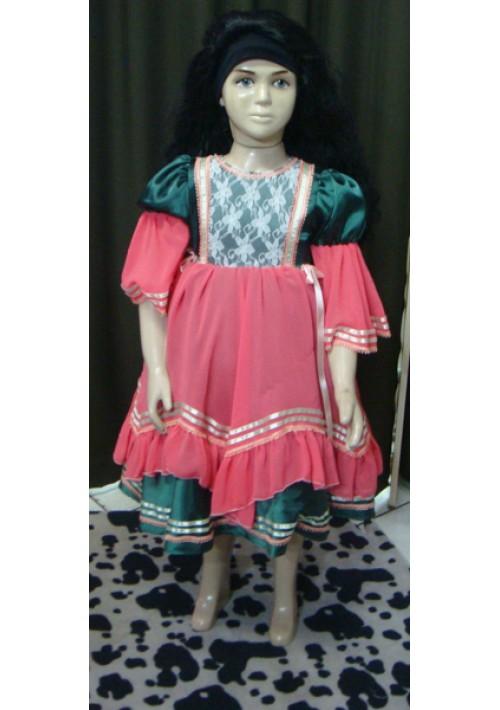 Vestido de Prenda Infantil Verde com Rosa