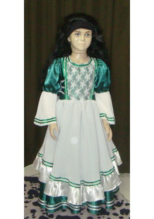 Vestido de Prenda Infantil Verde com Branco