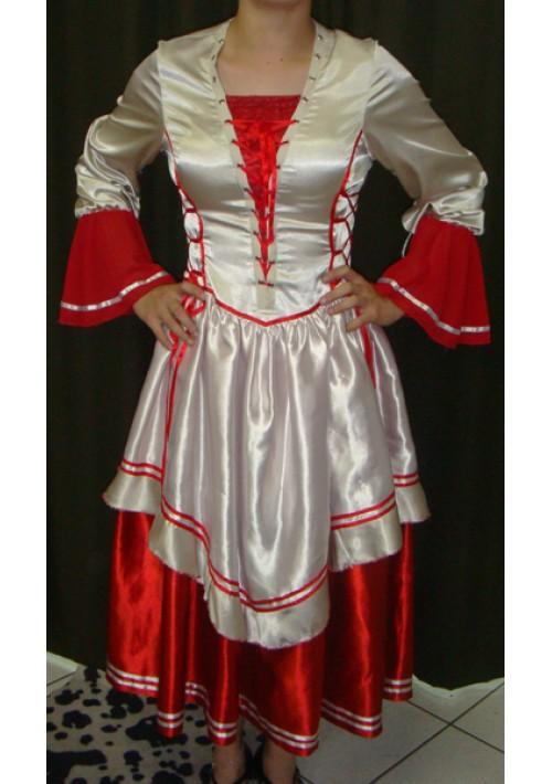 Vestido de Prenda Vermelho com Pérola