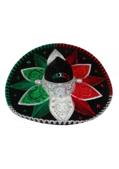 Chapéu Sombrero Mexicano Verde/Vermelho/Branco