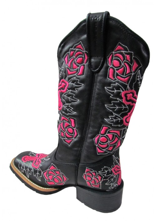 Bota Texana Top Country Preto/Pink