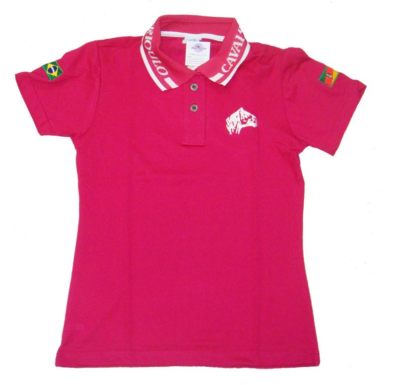840004dd0d Polo Tajol Feminina Cavalo Crioulo Pink. Comprar ...
